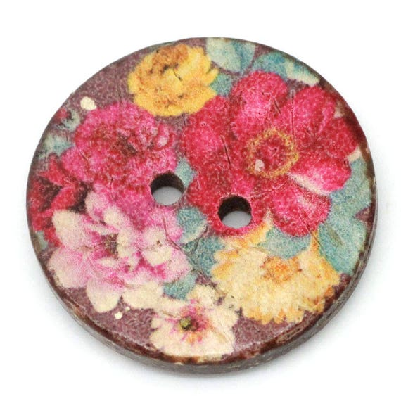 COLORFUL BCO25108 - 2 BUTTON ROUND 25 MM COCONUT WITH PATTERN