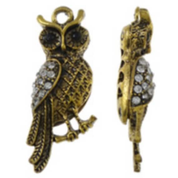"""1 large charm """"OWL"""" gold with Rhinestones size 12 x 37 mm"""