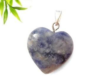 Silver plated heart pendant - sodalite