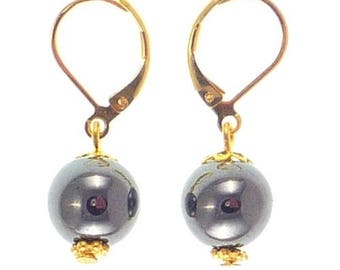 Stud Earrings plated gold - hematite