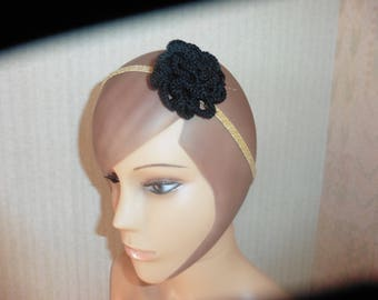 headband, headband, Head Band, collar pink prefering crocheted black flower on elastic jewelry gold
