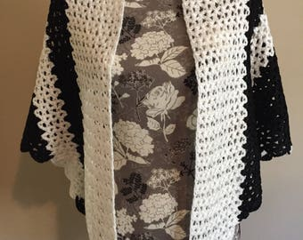 Handmade evening  clothing accessory Black and White triangle Shawl