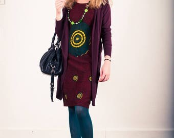 Dress 3 holes Oume Burgundy WAX cotton