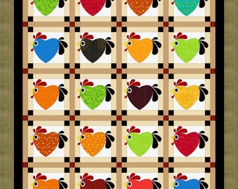 Chicken Hearted applique quilt pattern
