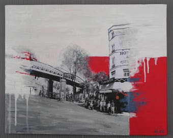 """Painting painting and collage """"Hôtel de Paris"""""""