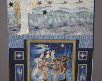 Patchwork Christmas Holy Family blue and white