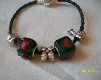 Silver Black Green pandora type bracelet charms