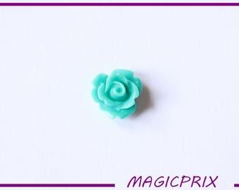 SET of 10 CABOCHONS flower Ø 10 mm blue/green m240