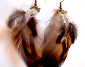 Duck feather earrings