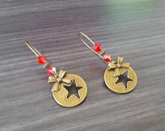 Round red sleeper earring