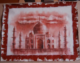 Drawing on canvas with the blood of the Taj Mahal