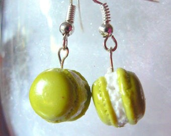 macaroon earrings polymer clay white forage lime green