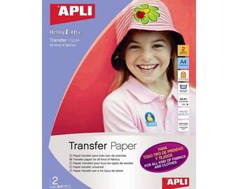Set 2 feuillles A4 transfert tous textiles - APLI - Ref 10955 ---------- Jusqu'à épuisement du stock !