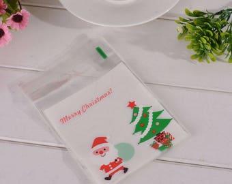 10 sachets bags pouches Christmas self-adhesive plastic 10x15cm