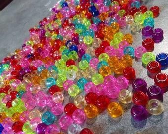 20 transparent acrylic beads 9 x 6 mm