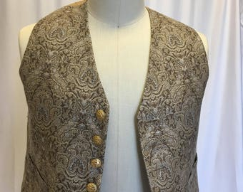 L -Gold and Taupe Brocade Vest