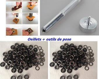 Black eyelet + setting tools with rondelle 10 mm for DIY curtain hip bag