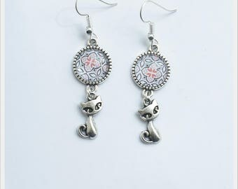 glass cabochon and Silver earrings