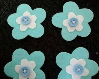 SET OF 4 FLOWERS FELT DECORATED SCRAPBOOKING STICKERS