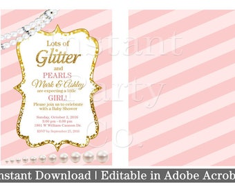 Pink and gold baby shower invitation | Girl baby shower invitation