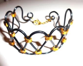 Black/gold cuff - aluminum - handmade