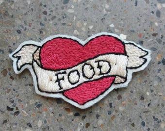 Handmade patch. I love food!