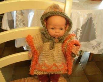 for 36 cm doll, coat/poncho has hood, beige, orange, green