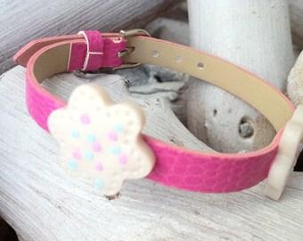 Pink flower power polymer clay bracelet
