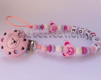 Pink bears personalized pacifier