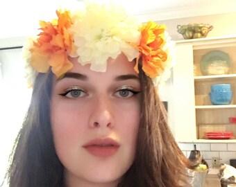 Orange & white flower crown