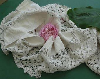 Large antique bobbin lace. great film old bobbin lace. antique French lace. bottom of bobbin lace petticoat