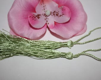 3 large tassels 8 cm - light green - creating jewelry wire-