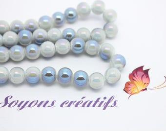 Lot 50 glass beads round 10mm light blue - creating jewelry - SC75399.
