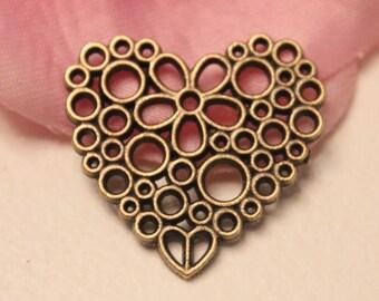 2 connectors 23x25mm openwork flower Heart Charm