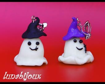 HALLOWEEN earring ghost polymer materials used: Fimo polymer clay ghost halloween materials clip-on earrings