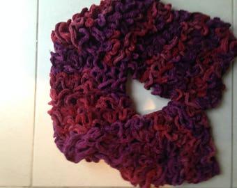 Plum Aubergine velvet ruffle scarf