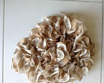 Beige ivory satin and nuanced ruffle scarf