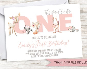 Woodland First Birthday Invitation Girls Pink Invite Digital Watercolor Animals Forest Party 7x5