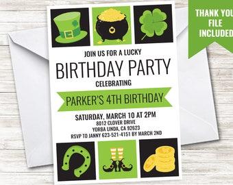 St. Patrick's Birthday Invitation Invite Patty's Digital 5x7 Gender Neutral Boys Girls Party ANY AGE