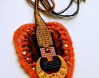 Necklace art deco in 2014. weaving beads and lace, gold orange black