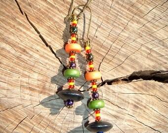 Bayou earrings wood seed beads