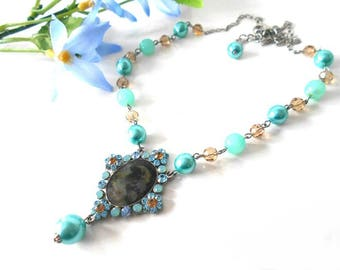 Retro necklace with pearls and crystals Swarovski blue and Brown