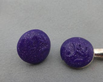 Cabochon Bobby pin and ring jewelry set purple glitter embossed round