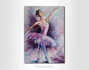 Ballerina painting Ballet art Figure painting Ballerina dancer Valentines Day decor Gift for girl Ballet painting on canvas Nursery Wall Art