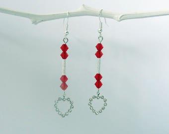 heart and swarovski pearls earrings