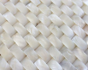 White convex mother of pearl tile