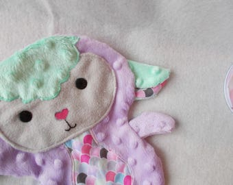 Doudou sheep/lamb soft purple/turquoise available *.