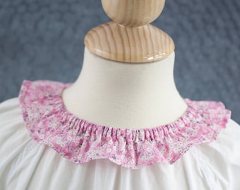 Nightgown with a ruffle Liberty collar for little girls - long sleeves - 100% cotton Lawn Batiste