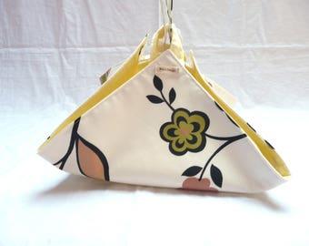 Brown and green flowers beige pie bag