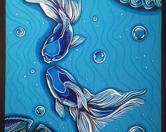 Blue Fish - made drawing to be framed